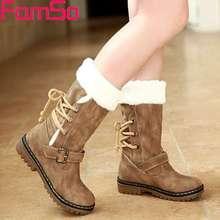Famso Новая обувь сезона 2017 с бесплатной доставкой Для женщин Ботинки дизайнерские женские зимние уличные держать теплая меховая обувь теплые женские ботинки из водонепроницаемого материала
