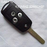 DAKATU 3 Botones Voltear Plegable Remoto Clave Para Honda Accord CRV SPIRIOR Con la Viruta ID46 433 Mhz Alarma de Coche de Entrada Sin Llave Fob