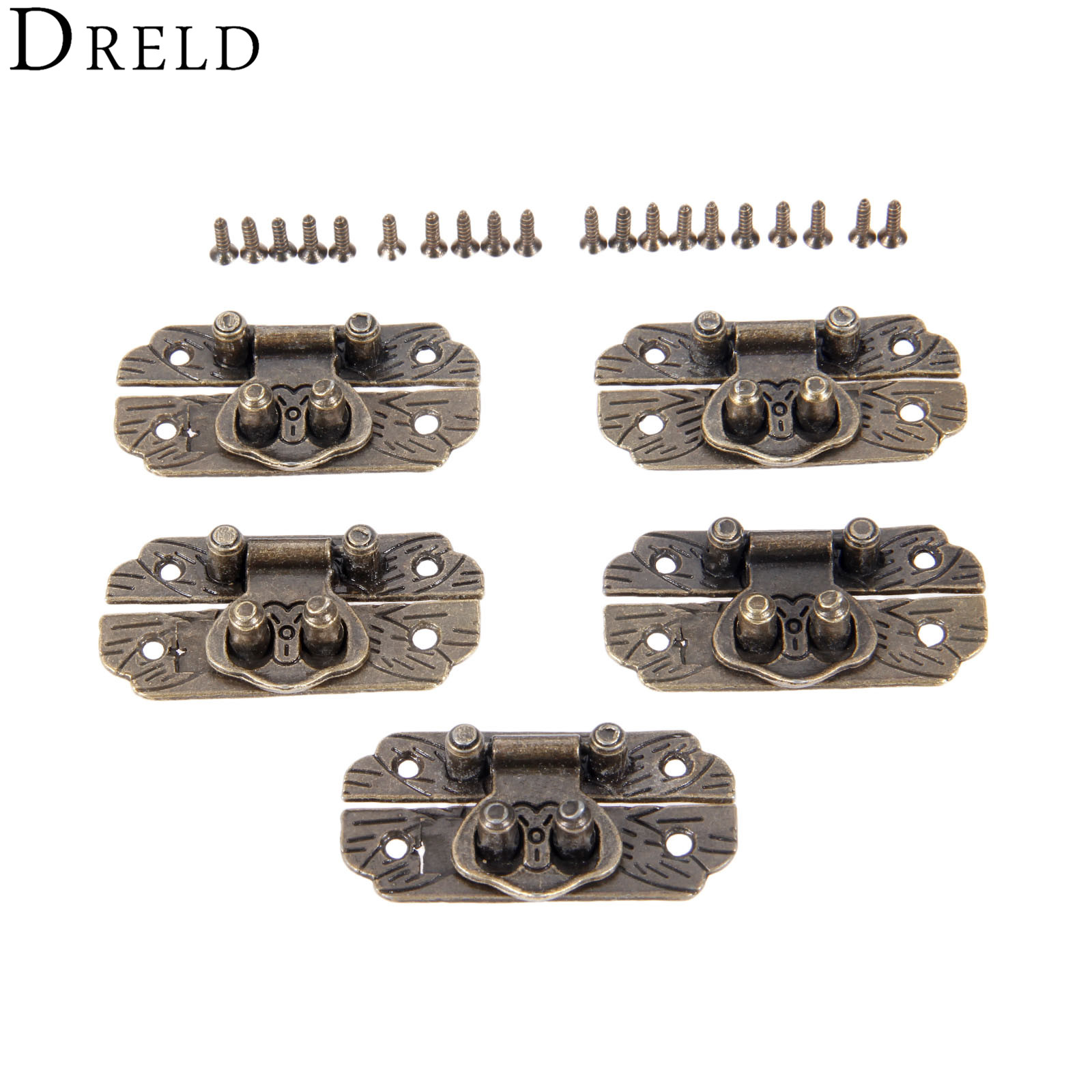 DRELD 5Pc Antique Bronze Box Hasps Iron Lock Catch Latches For Jewelry Box Suitcase Buckle Clip Clasp Furniture Hardware 25*48mm