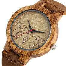 Wooden Watch Men Women Genuine Leather Band Quartz Wood Mens
