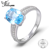 Natural Gem Stone Blue Topaz Halo Ring For Women Real Solid 925 Sterling Silver Promise Ring Best Quality Famous Brand Jewelry