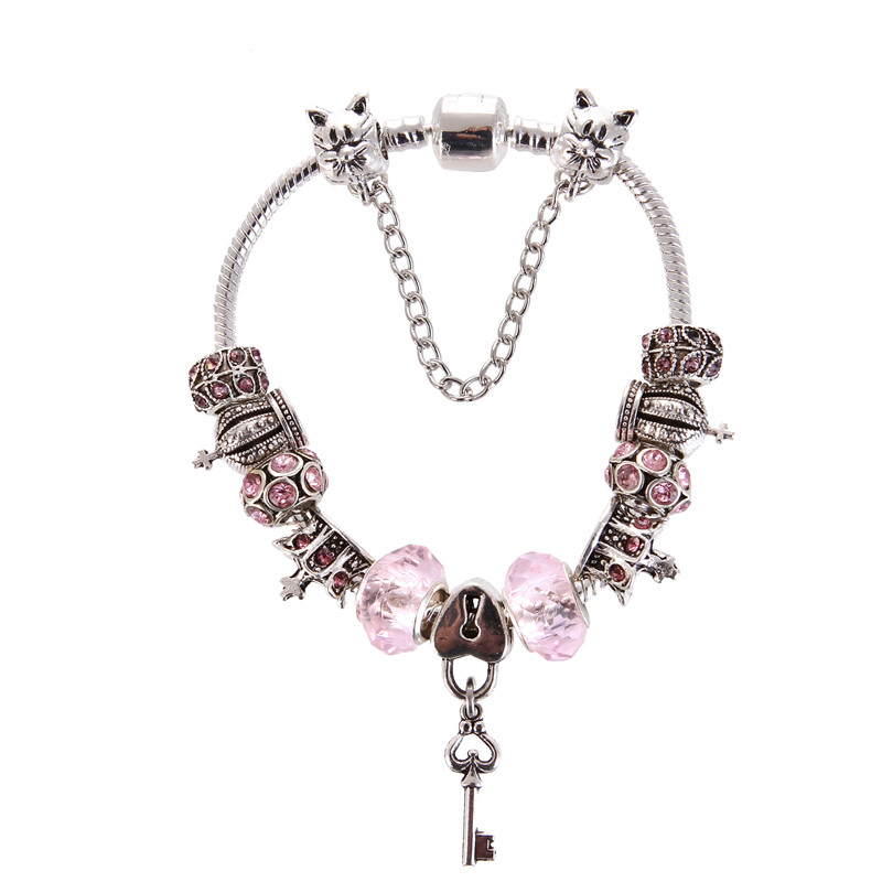 High Quality Pink Crystal Beads Key pendant Charm Noble Pretty Pandora Bracelet For Women/Gril gift jewelry Drop Shipping