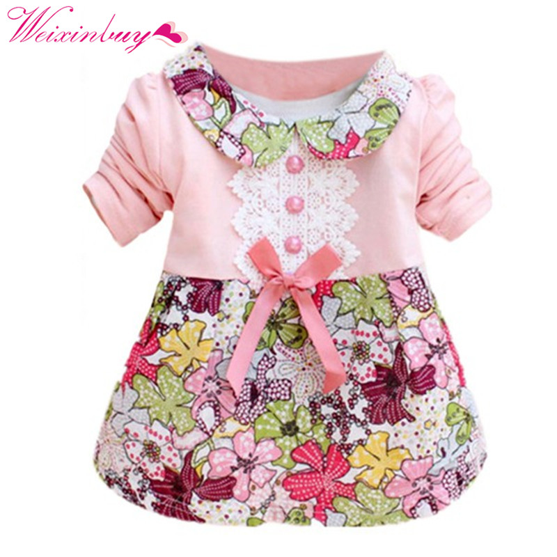 Spring Long Sleeve Lace Bow Baby Party Birthday girls kids Children Cotton dresses, princess infant Dress Vest