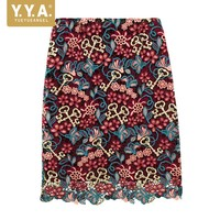 Luxury Solid Red Flower Embroidery Ladies Short Skirt Elegant Panelled Office Wrap Skirt Sexy Lace Skirt High Quality Ropa Mujer