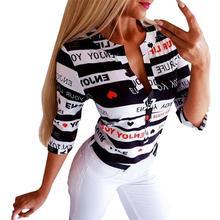 Summer Harajuku Shirt Tops Women V Neck Button Printing Long Sleeve Blouse Causal Letter Slim