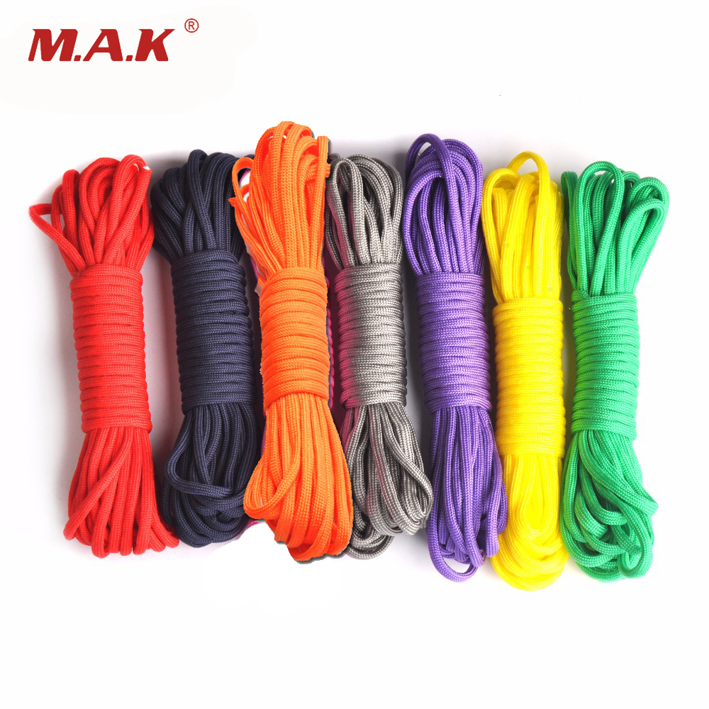 Colorful 25/50/100ft Paracord 550 Parachute Cord Lanyard Rope Mil Spec Type III 7 Stand Survival Rope For Outdoor Climbing Camp