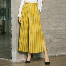 Striped elastic waist loose wide leg long pants 2018 new women autumn pants elastic waist striped pants
