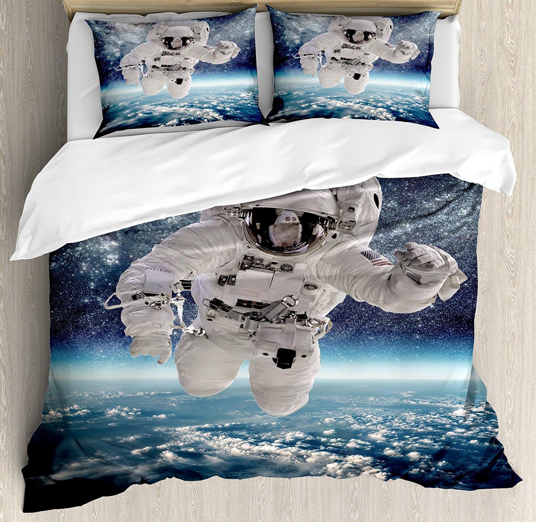 Дети пододеяльник набор космической тематике астронавт в Milkyway печати Galaxy Stardust земли Home Decor Постельное белье темно синий белый