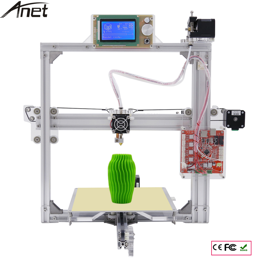 Silver Color Aluminium Frame 3D Printer 6 Options DIY Prusa i3 3d Printer Kit +Hotbed +LCD Screen +3 Roll Filament + 8GB SD Card цены