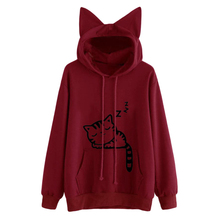 SLEEPING CAT Printed Hoodie Jacket with EARS