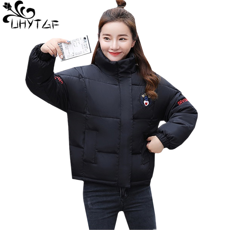 UHYTGF Short Winter Jacket Women Plus size Down Cotton Warm Coat Female Bread service Thicken student Outwear   Parkas   Ladies 623