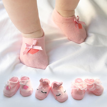 3Pcs/set 2018 Cute Flower Lace edge Socks Baby Infant Newborn Cotton Boys Girls Cartoon Toddler Anti-slip