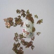 MS6-2 100 piezas de oro lindo mariposa arte de uñas de Metal decoración de Arte de uñas no adhesivo