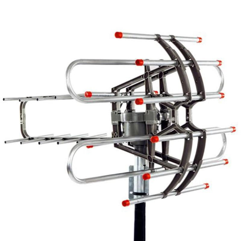 Outdoor 110Miles Amplified Antenna HD TV 15-22dB Rotator 360° Long Range UHF//VHF