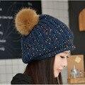 Mujeres del invierno gorros ganchillo Mujeres al por mayor de lana de punto Cap para 2016 nuevo casquillo de la manera