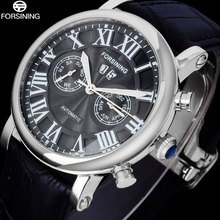 FORSINING Men's Business Dress Automatic Watch Men Classic Mechanical Wrist Watches Male Rome Style Lether Band Calendar Clock