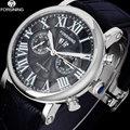 FORSINING herren Business Kleid Automatische Uhr Männer Klassische Mechanische Armbanduhren Männlichen Rom Stil Lether Band Kalender Uhr