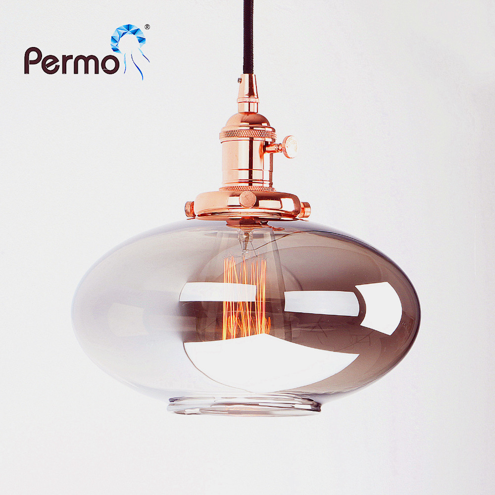 Permo Vintage Pendant Lights Reflective Glass Luminaire Pendant Ceiling Lamp for Living Room Hanglamp Lights Fixture