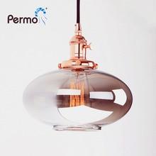 Permo luzes pingente de vidro reflexivo do vintage luminária pingente lâmpada do teto para sala estar hanglamp luzes luminária plafondlamp