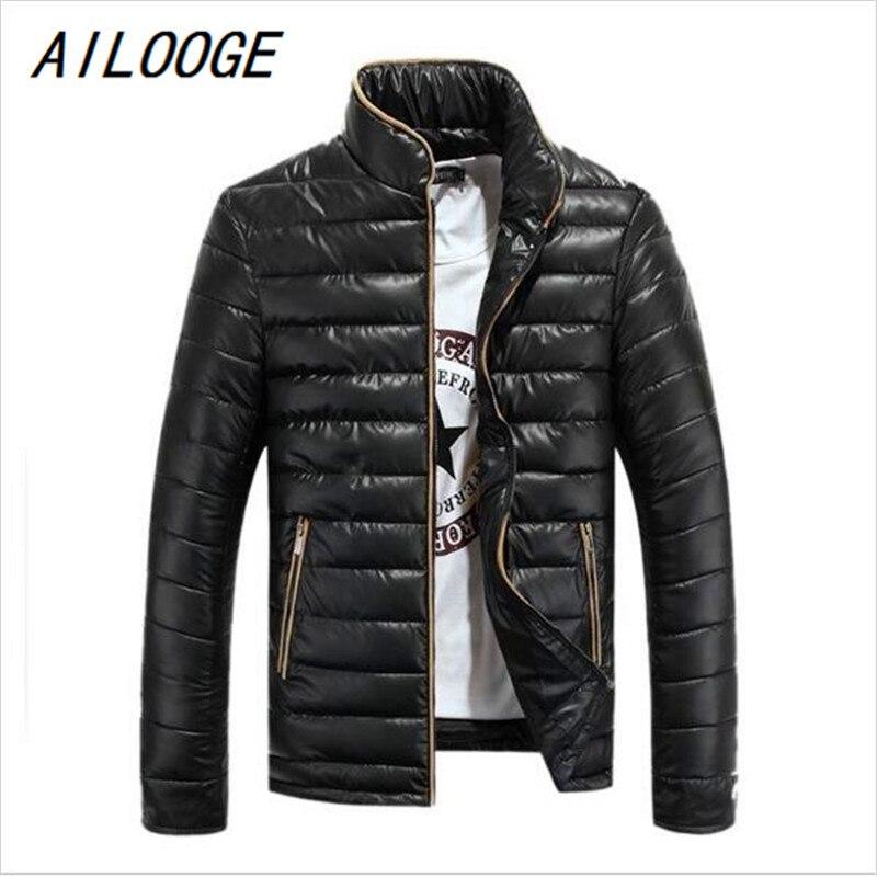 AILOOGE Men Winter Jacket Parka Hot Sale Down Parkas Men Slim Fit Fashion Thick Warm Male Jackets Coats Solid Cotton Boys Jacket