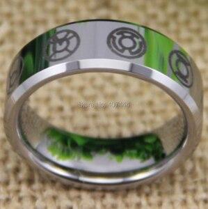 Image 3 - شحن مجاني YGK مجوهرات حار مبيعات 8 مللي متر الراحة صالح الأخضر فانوس أحلك ليلة جديد الفضة التنغستن خاتم الزواج