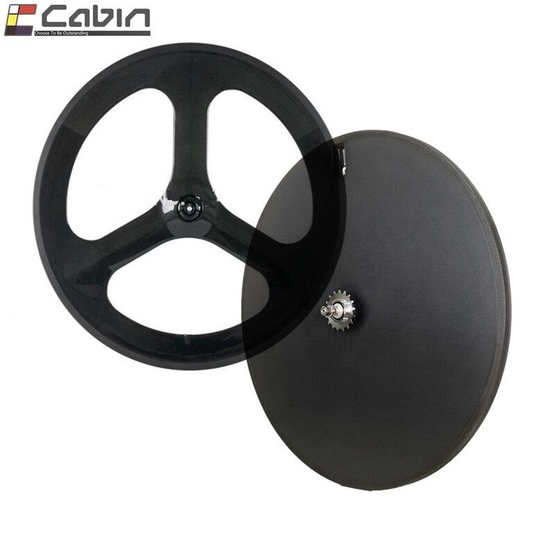 1pc of Rear wheel 700C 3 spokes Carbon Wheel for fixed gear bike 3K glossy