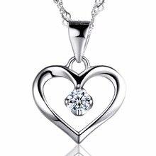цены на Hollow Heart Pendant Necklace Women Wedding Anniversary Jewelry Elegant 925 Sterling Silver Cubic Zirconia Crystal в интернет-магазинах