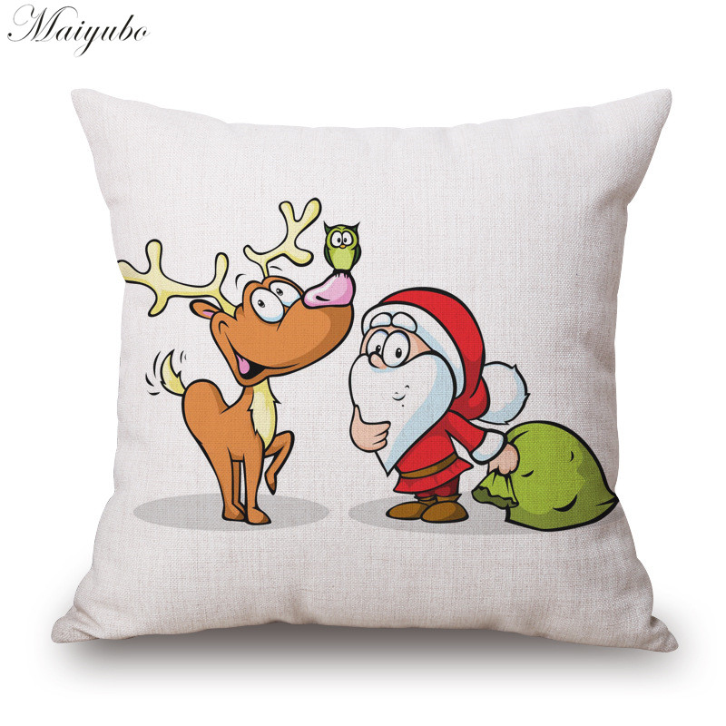 Maiyubo Festival Decorative Throw Pillowcase Merry Christmas Polyester Cushion Covers Santa Claus Pillow Cover for Couches PC286