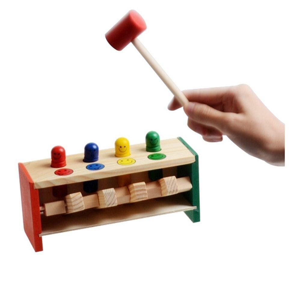 Горячая Распродажа детская малышей, развивающие игрушка деревянная игра ударов Слесарный Молоток