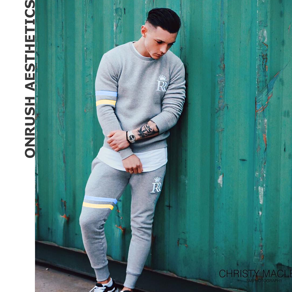 OA Fitness Mens Outfit Bodybuilding Casual Round Collar Pullover Tops + Elastic Breathab ...