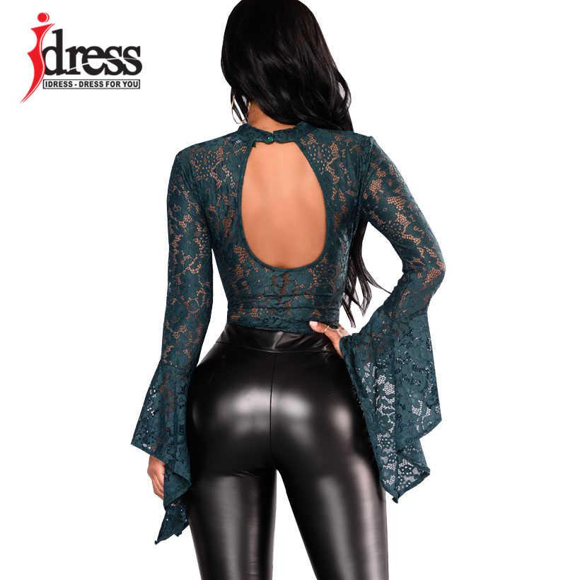 Vestido de mujer Sexy negro de encaje body ver a través de cuello alto manga larga acampanada sin espalda mono elegante para mujer mono