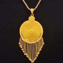 Aniyo أفريقي كبير مُثبت القلائد للنساء الرجال الذهب اللون مجوهرات الإثيوبية نيجيريا الكونغو السودان غانا العربية مجوهرات #125306