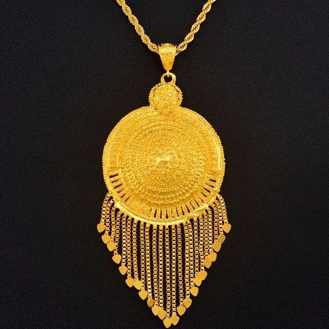 Anniyo אפריקאי גדול תליון שרשראות לנשים גברים זהב צבע האתיופית תכשיטי ניגריה קונגו סודן גאנה ערבי תכשיטים #125306
