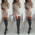 Women Off The Shoulder Winter Dress 2015 Sexy Long Sleeve Slash Neck  Mini Dress Plus Size  Slim Bandage Bodycon Dress