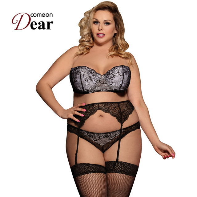 256fd87195 Comeondear Lenceria Femenina Plus Size Women Uunderwear Set Ropa Interior  Femenina Conjunto Strapless Lingerie Set RP80457