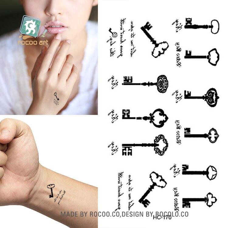 Rocooart HC151-175 Waterproof Fake Tattoo Styling Tools Stickers Snake Pistol Black Feather Temporary Tattoos Body Art Tattoo 26