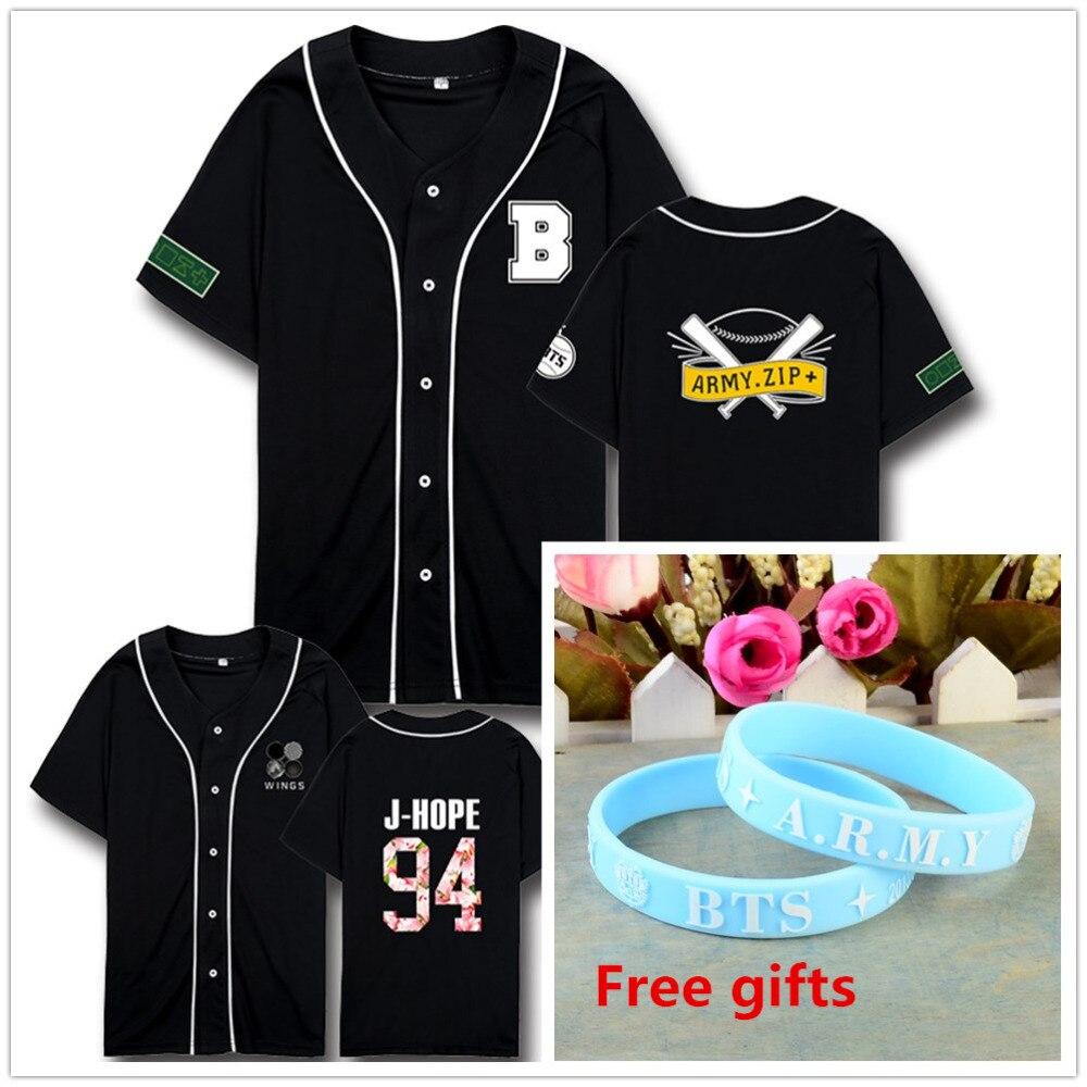 Neue Kpop BTS bangtan boys flügel album gleichen stil Unisex Armee t-shirt t suga jimin t-shirt mit freies armband