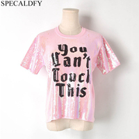 Harajuku Kawaii Sequined Letter Pink T Shirt Women Short Sleeve Elegant Tops Summer Knitted T shirt Streetwear Tee Shirt Femme