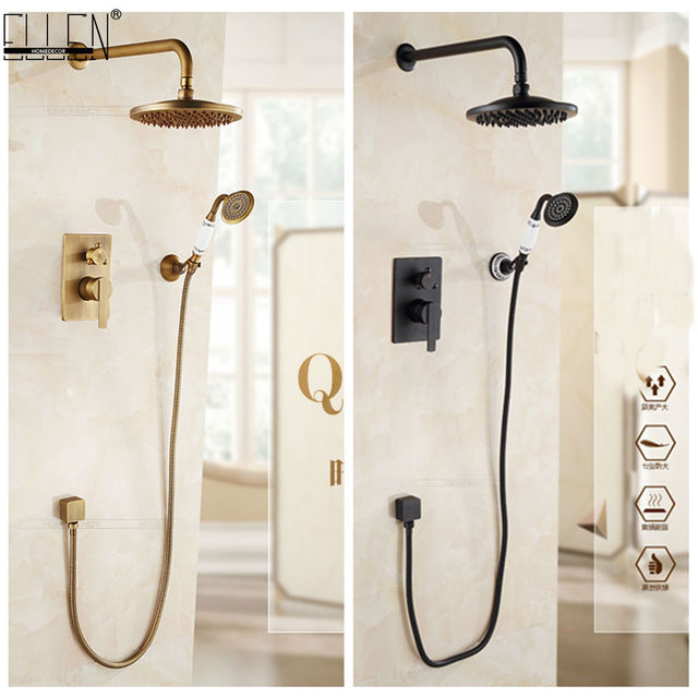 Wall Mounted Shower Set Bath Shower System Antique Bronze Oil Rubble Bronze Finished In-wall Bath Shower Hot and Cold ELS10