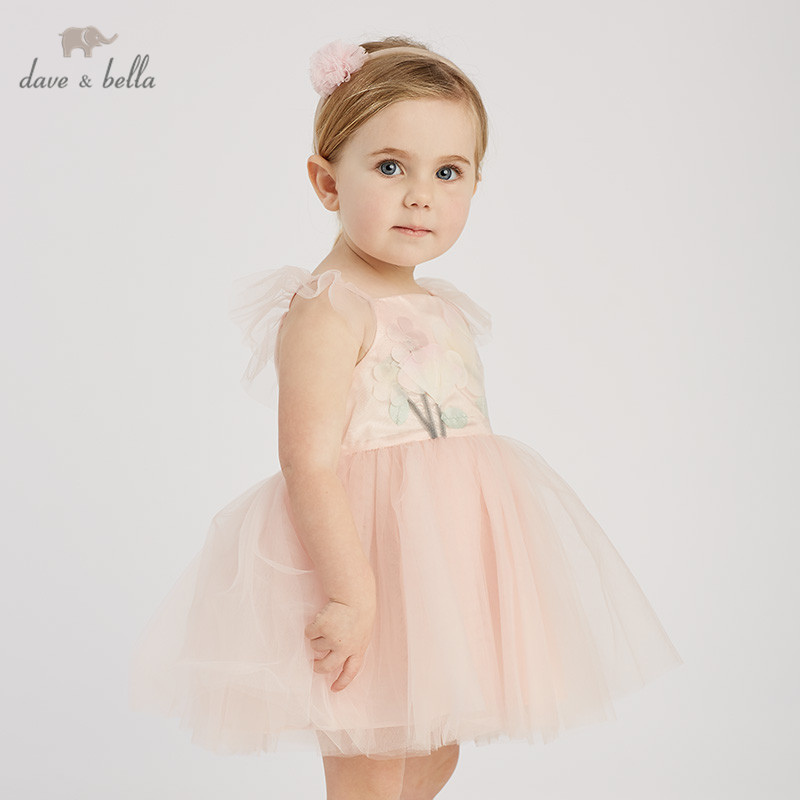 DB9959 dave bella summer baby girl s princess cute floral dress children fashion party dress kids