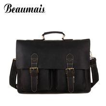 Beaumais 100% Real  Horse Genuine Leather Bag Belts Retro Men Messenger Bags Tote Laptop Pocket Men's Travel Bags Man Bag BG521