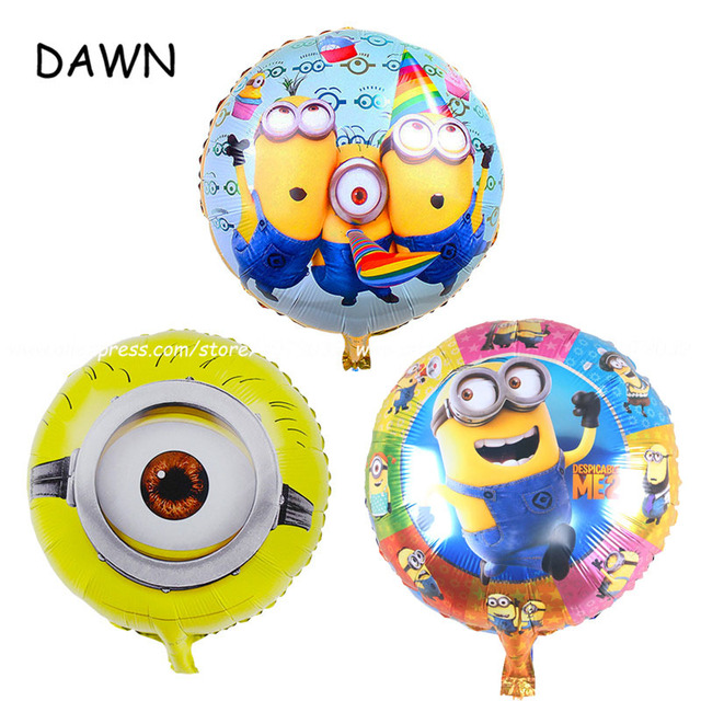 3pcs/lot MIX Minions cartoon Despicable Me Globos Foil Balloons birthday party decorate ballon Baby Shower kid toys