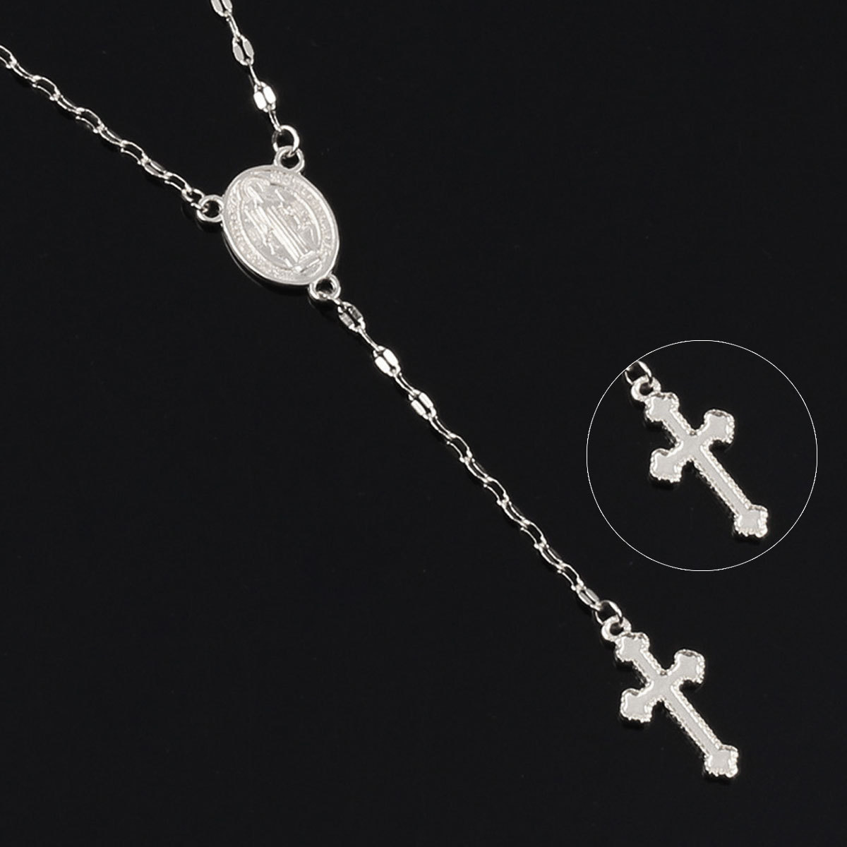 New Fashion Cross Pendant Necklace for Women Trendy Exquisite Medal Religious Long Chain Necklace Jewelry Collier Femme in Pendant Necklaces from Jewelry Accessories