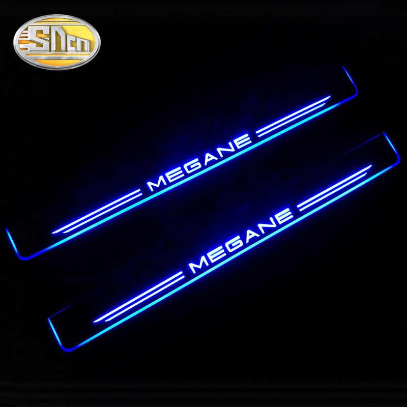 SNCN 4 Uds Pedal de bienvenida LED móvil acrílico para placa de desgaste de coche Pedal Umbral de puerta luz de camino para Renault Megane III 3 4 IV
