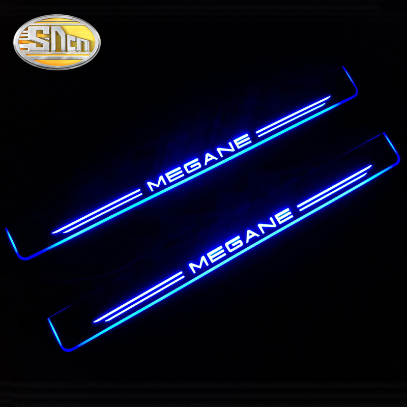 SNCN 4PCS Acrylic Moving LED Welcome Pedal Car Scuff Plate Pedal Door Sill Pathway Light For Renault Megane 3 III 4 IV waterproof acrylic moving led welcome pedal car scuff plate pedal door sill pathway light fit for everest 2016 2017 2018