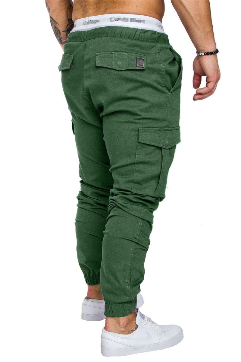 IceLion 2019 New Fashion Pants Men Solid Elasticity Men's Casual Trousers Mens Joggers Drawstring Multi-pocket Pants Sweatpants 23