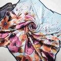 [15% OFF] 203017! 4 ЦВЕТА 2017 Новые женщин большой Площади Шелковый Шарф, квадратные Шарфы, креп-сатин равнине площади шелковые шарфы