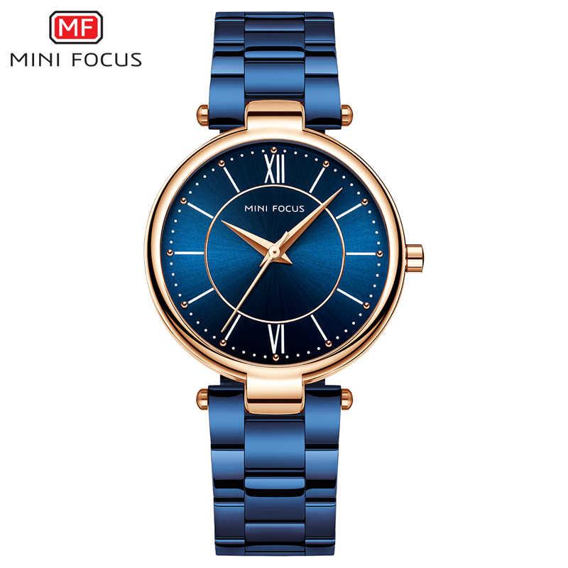 מיני פוקוס נשים שעונים עמיד למים כחול נירוסטה מותג יוקרה אופנה גבירותיי קוורץ שעון Relogio Feminino Montre Femme