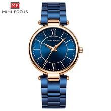 ミニフォーカス女性腕時計防水ブルーステンレス鋼ブランドの高級ファッションレディースクォーツ時計レロジオfeminino montreファム
