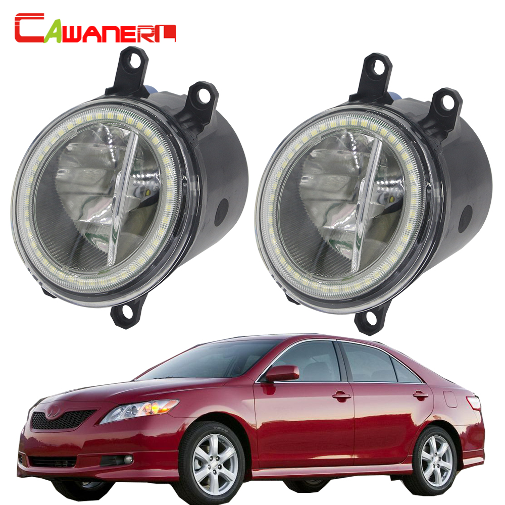Cawanerl For Toyota <font><b>Camry</b></font> 2006 2007 <font><b>2008</b></font> 2009 2010 2011 2012 Car H11 LED Bulb Fog Light + Angel Eye Daytime Running Light 12V image